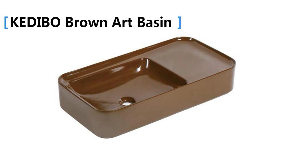 KEDIBO nice brown counter top basin with storage platform