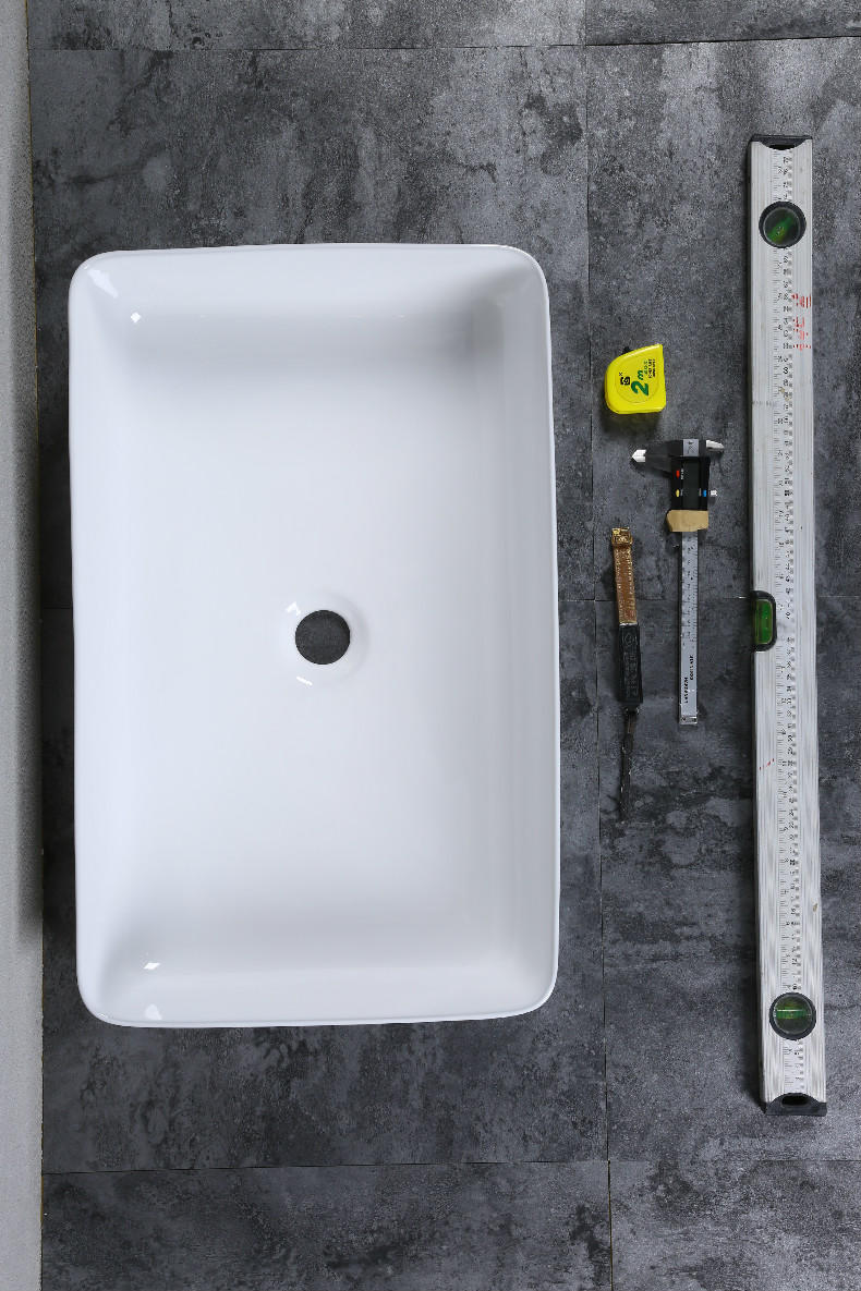 Super slim square counter top porcelain bathroom sink