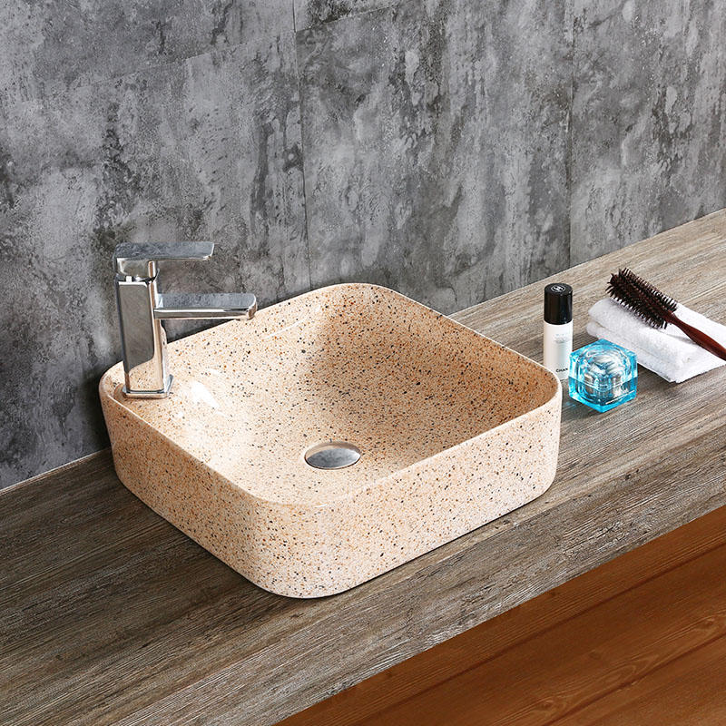 SQUARE BATHROOM CERAMIC ART BASIN WITH TAP HOLE  0082