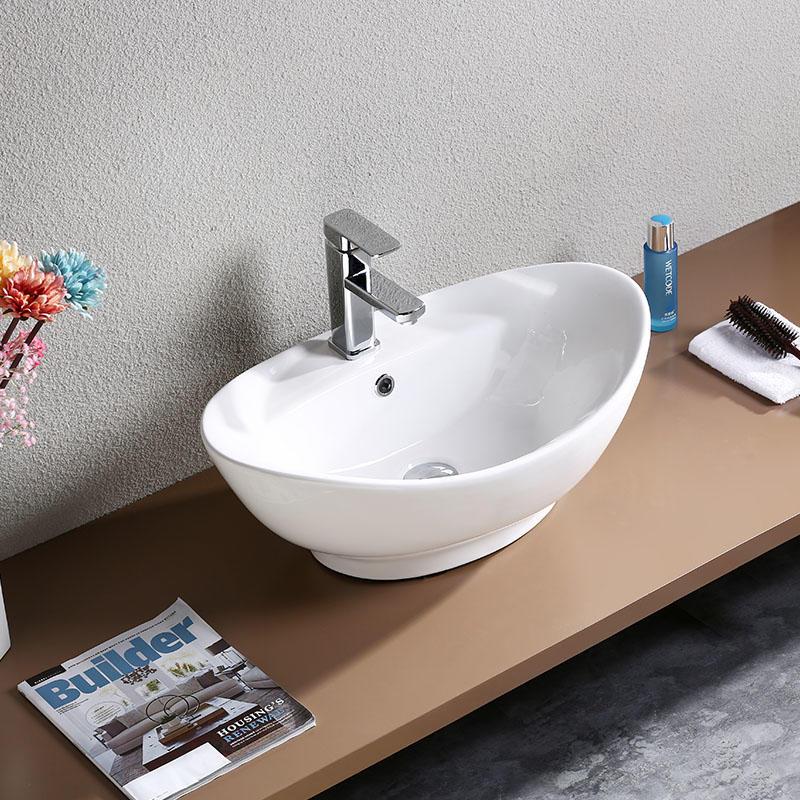 BATHROOM WHITE COUNTER TOP CERAMIC BASIN 7003
