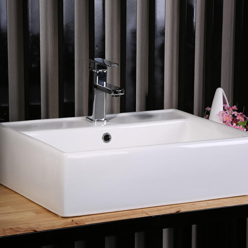 BATHROOM SQUARE CERAMIC BASIN WITH TAP HOLE  7005B