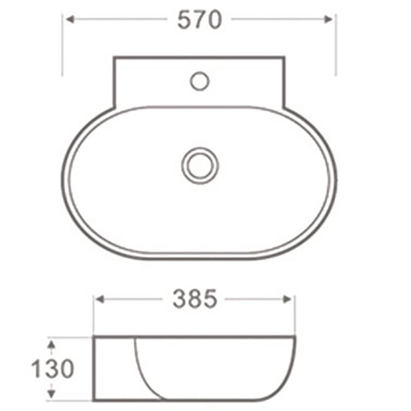 CERAMIC WALL HUNAG BASIN OVAL HY-3063
