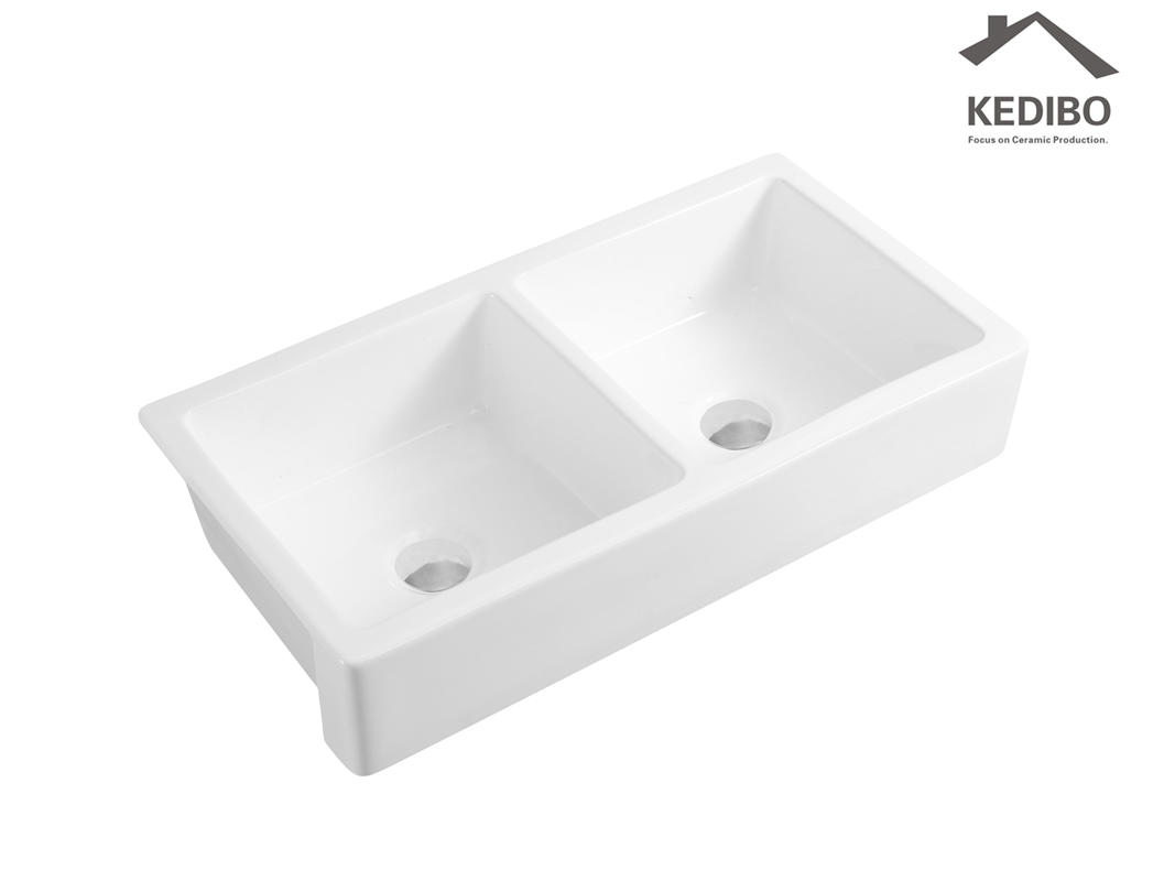 New Product China Factory Double Bowl Ceramic Kitchen Sink (KS-01D)-1