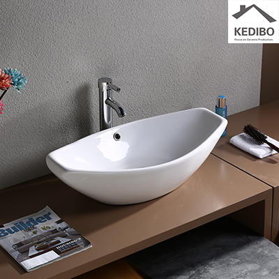 LARGE CAPACITY WHITE CERAMIC COUNTER TOP BASIN  1003