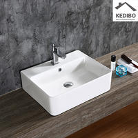540x420  Bathroom White Counter Top Square Slim Basin   0094