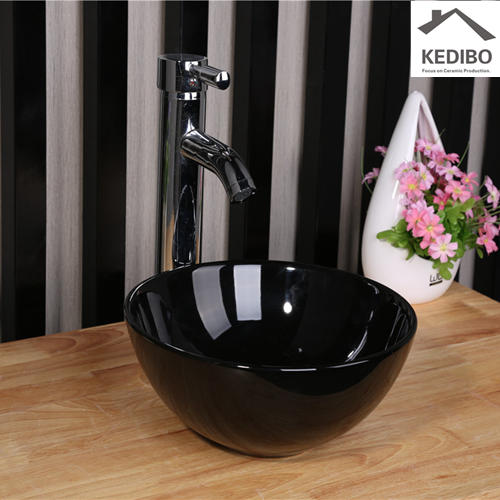 Black Round Counter Top Ceramic Basin 7061B