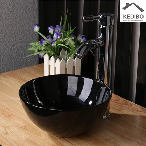 Black Round Counter Top Ceramic Basin 7061B