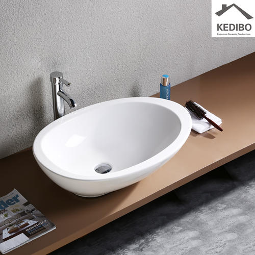 Oval Counter Top Ceramic Basin Without Tap Hole 1005