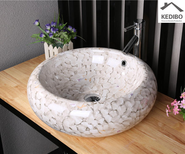 Round Marble Finish CE approved Ceramic Basin (7002-2)