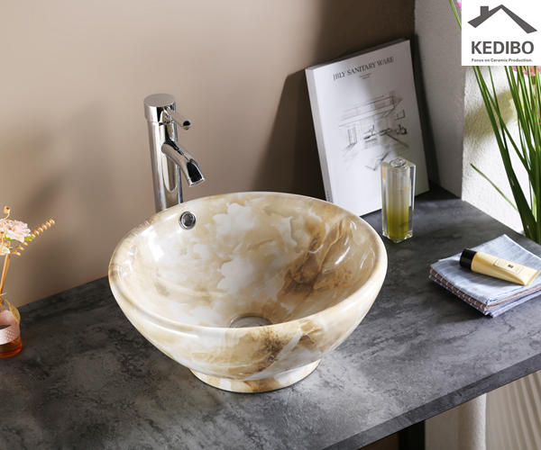 Small Size Round Marble Pattern Ceramic Basin (7008B)