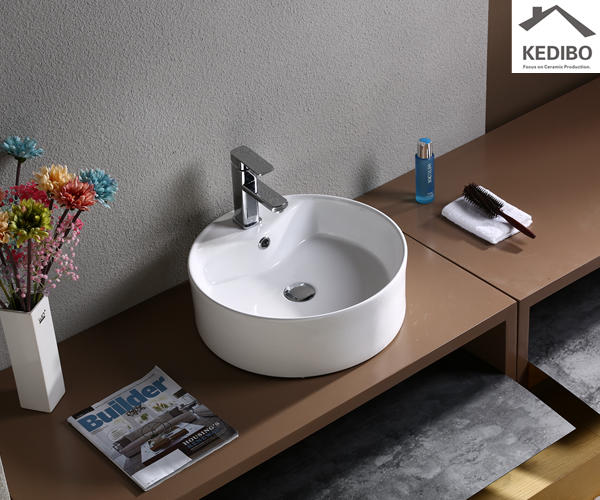 Round CE Certificate Ceramic Art Basin With Faucet Hole (7009)