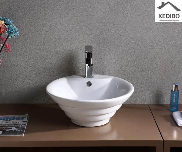 China Factory Round Ceramic Art Basin (7015)