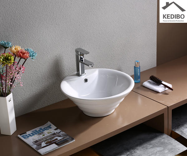 China Factory Round Ceramic Art Basin (7015)