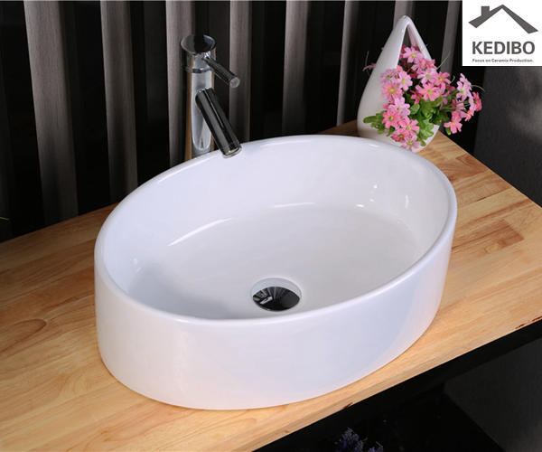 Oval Deep Bowl Counter Top White Art Basin 7016