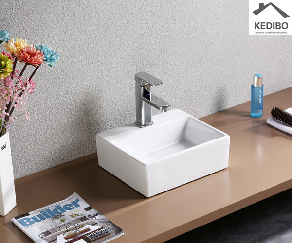 335x290 Small Size Thin Edge Ceramic Basin With Faucet Hole 7018