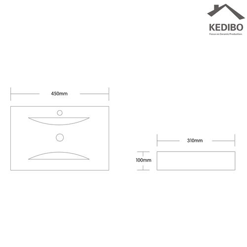 100mm Height Square Ceramic Counter Top Basin 7018C