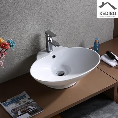 Oval Thin Edge Bathroom Ceramic Top Mounted Basin 7025D