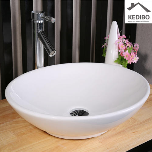 Oval Porcelain Top Mounted Wash Bowl Basin 7027A