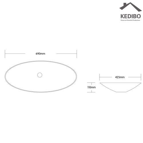 Large Size Bathroom Porcelain Counter Top Basin  7027D