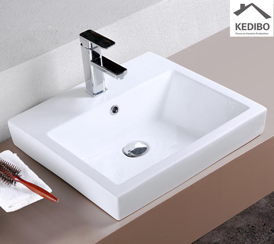 520x470 CE Square Semi-Recessed Counter Top Wash Basin Sink 7028