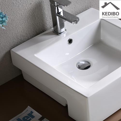 Semi-embedded Square Ceramic Basin 7033C