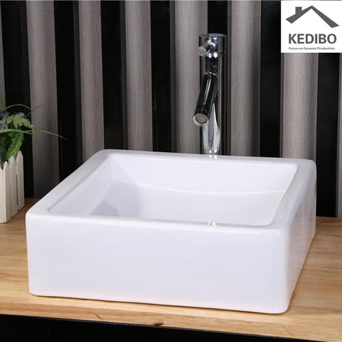 400X400 Square White Bathroom Art Basin Without Tap Hole 7037B
