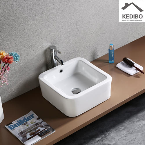 410*410 Square R corner Bathroom Wash Basin 7037G