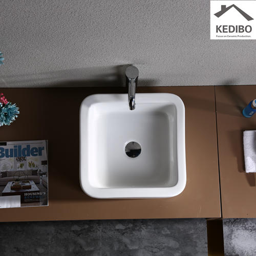410*410 Square R corner Bathroom Wash Basin 7037G