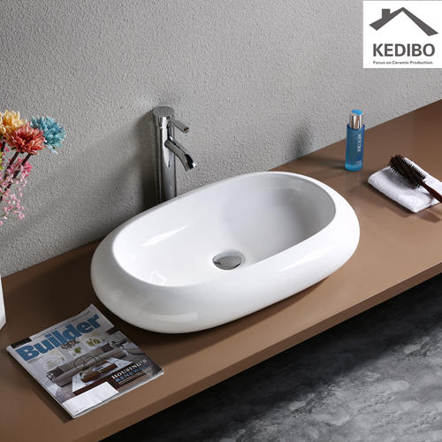650*410 CSA Approval Oval Black Ceramic Art Basin 7042