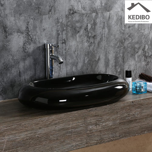 650*410 CSA Approval Oval Black Ceramic Art Basin 7042