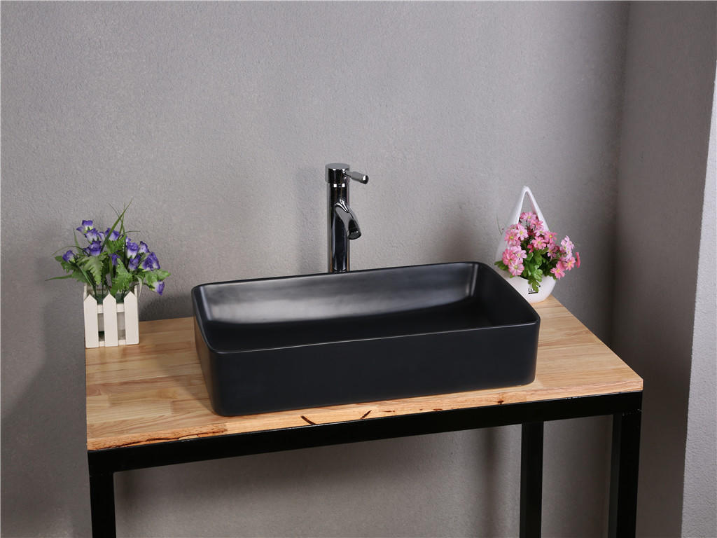 610x310 Black Rectangle Bathroom Ceramic Basin Sink 7050F