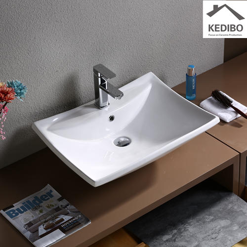 610x440  Rectangle Bathroom White Ceramic Basin with Tap Hole 7062