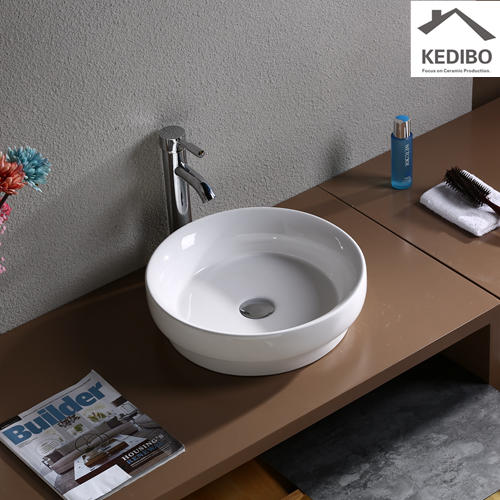405x400 Round Bathroom White Ceramic Counter Top Basin 7068