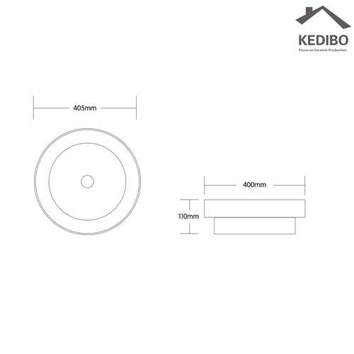 405x400 Round Bathroom White Ceramic Counter Top Basin 7068