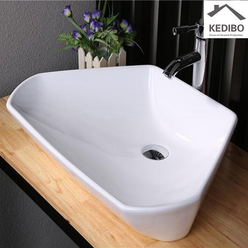 600x420 Trapezoid shape Bathroom Special Design Ceramic Basin 7070