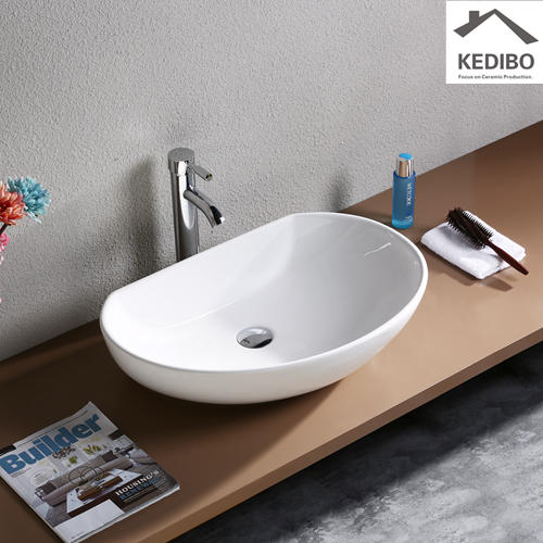 605x410 Half Ellipse Bathroom Ceramic Art Basin 7074