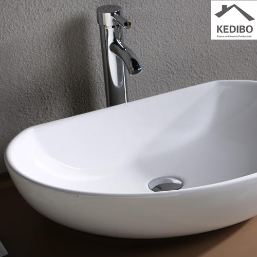 605x410 Half Ellipse Bathroom Ceramic Art Basin 7074