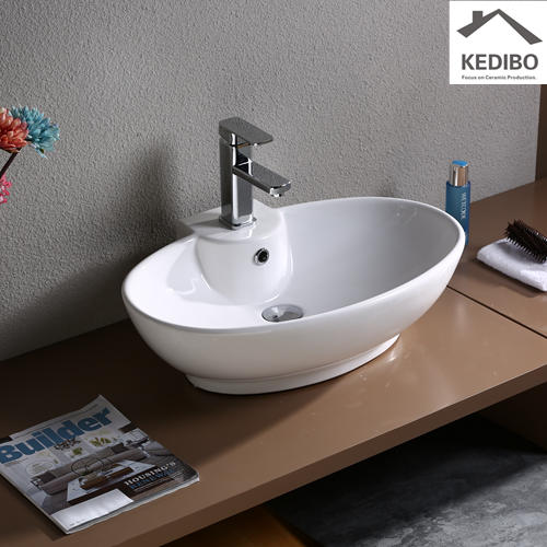 600x440 Oval Bathroom Ceramic Basin With  Tap Hole 7099