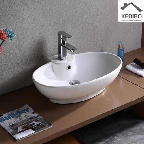600x440 Oval Bathroom Ceramic Basin With  Tap Hole 7099