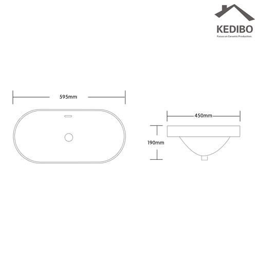 595X410 Oval Semi-embedded Above Counter Top Basin  018