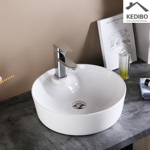 430x430 Round Bathroom Counter Top Basin with Tap Hole 0090
