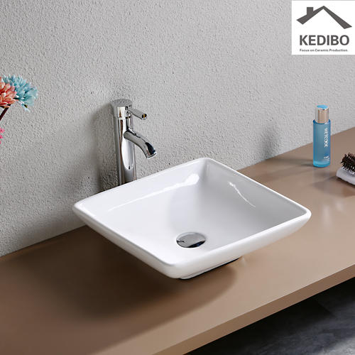 400x400  Bathroom Square Top Mounted Ceramic Basin 7034B