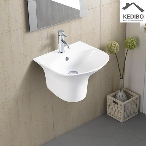 460X420 Half-pedestal Oval Ceramic Wall Hung Basin 5100C