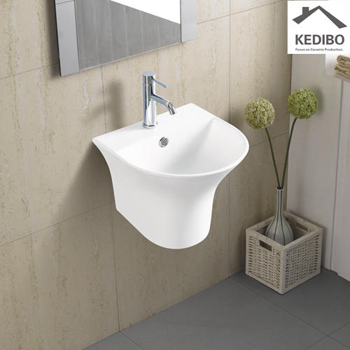 350x350 Small Size Round Wall Hung Ceramic Basin 5300D