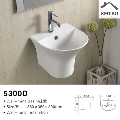 basin wall mount bathroom sink hole for commercial apartment KEDIBO-2