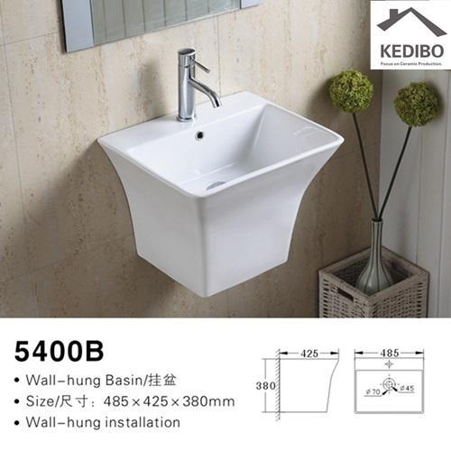 485X430 Rectangle Thin Edge Wall Hung Basin Sink 5400B