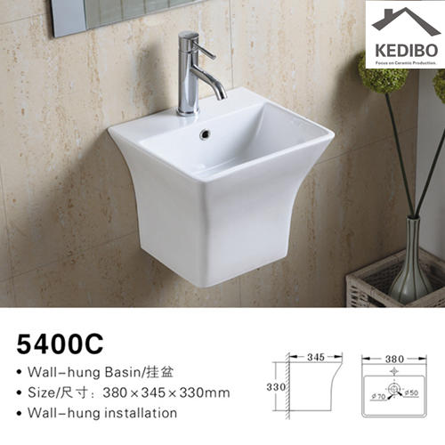 375X350 Rectangle Bathroom Outdoor Wall Hung Ceramic Basin 5400C