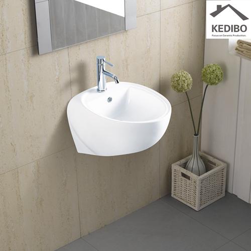 KEDIBO halfpedestal ceramic wall hung basin supplier for restaurant-1