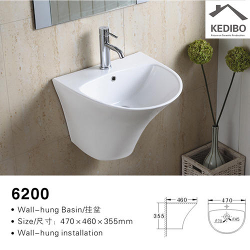 485x465 Thin Edge Wall Hung Ceramic Sink 6200
