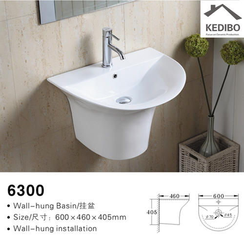 610x465 Oval Wall Hung Basin Bathroom Sink 6300